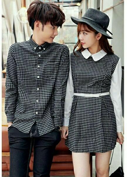 Chrystion Dress Kemeja Pasangan Couple Dress Wanita Kotak Baju Pria Kompak  Korean Style Fashion Couple Murah 38b64b5681