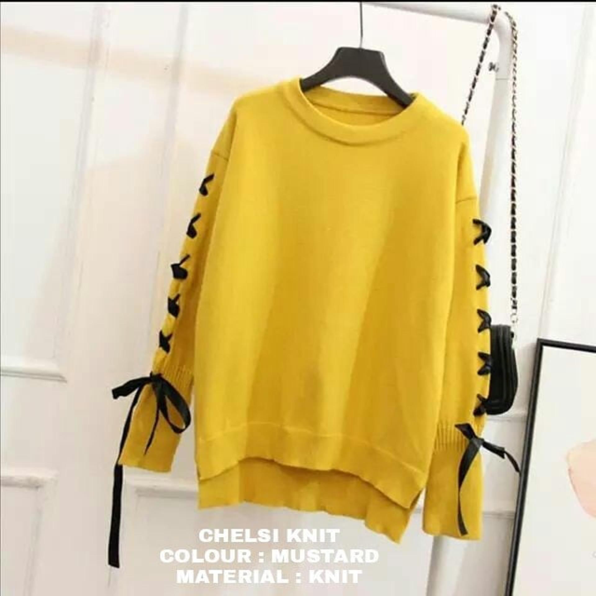 Hijab Bandung Jaket atau Sweater Rajut Wanita Chelsi - Multicolor