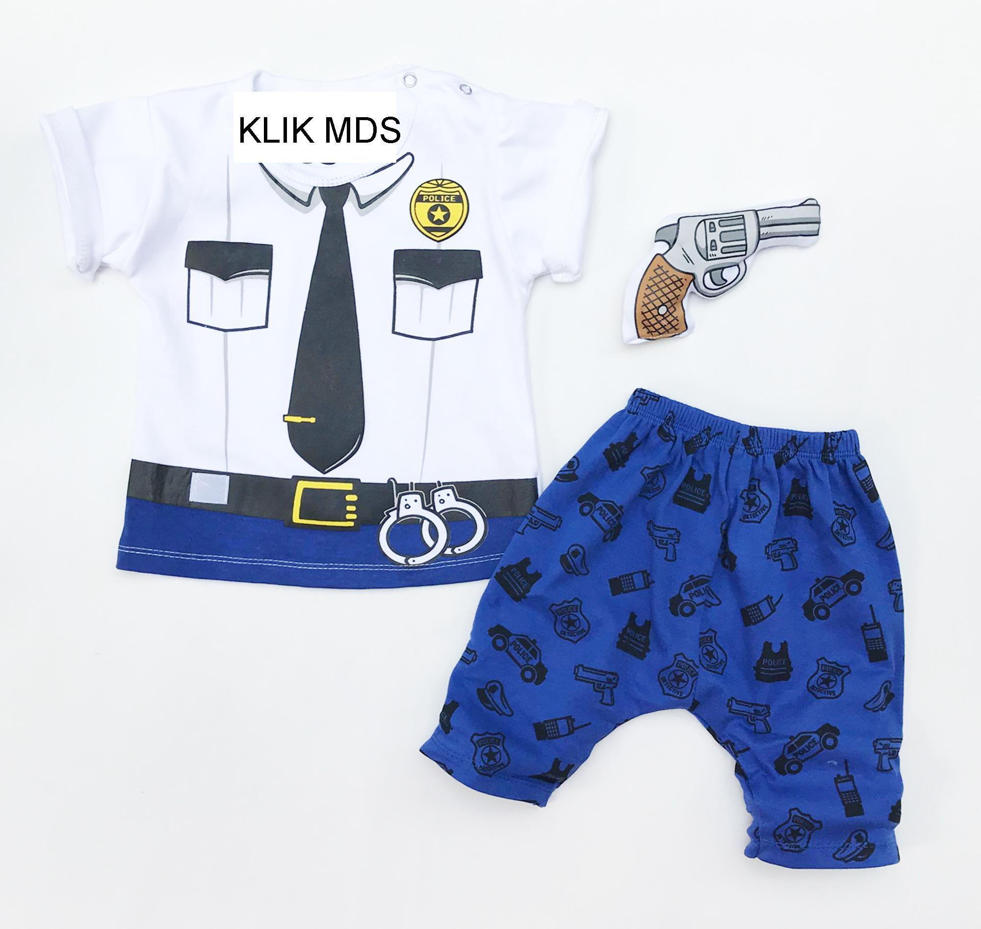 Klik Mds Baju Anak Bayi Setelan Atasan dan Celana Motif Karakter Polisi Free Boneka Pistol