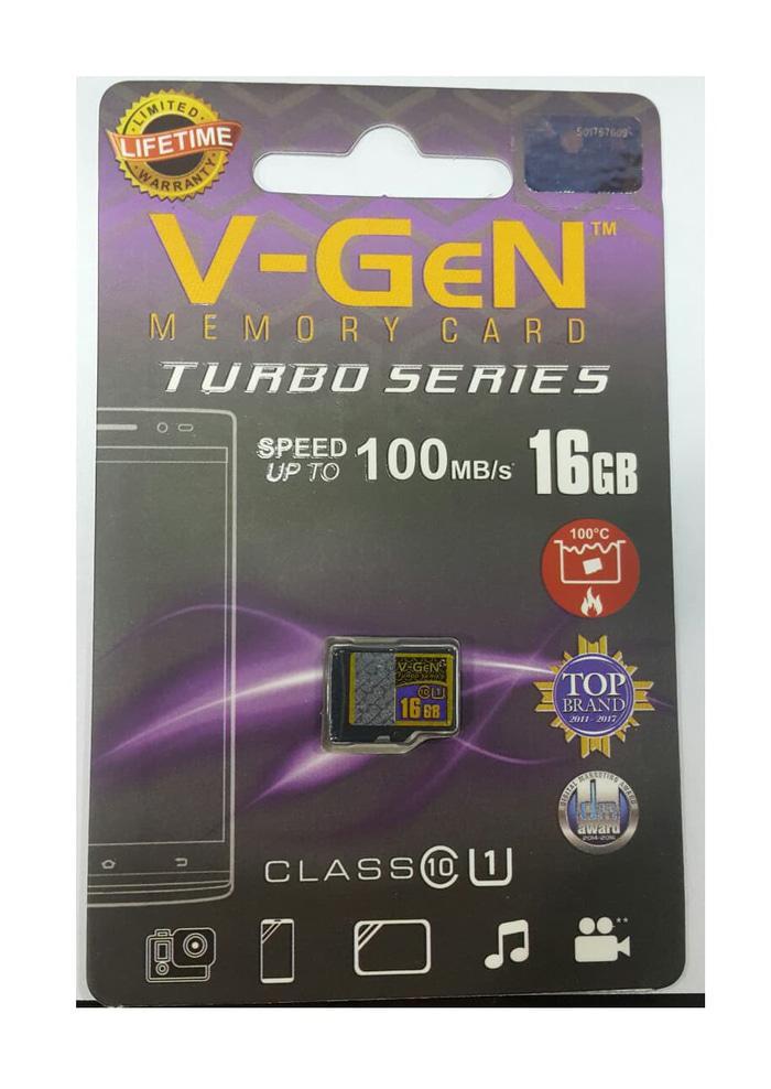 MicroSD V-GeN Turbo 16GB Class 10 100MB/S - MicroSD VGEN Memory HP