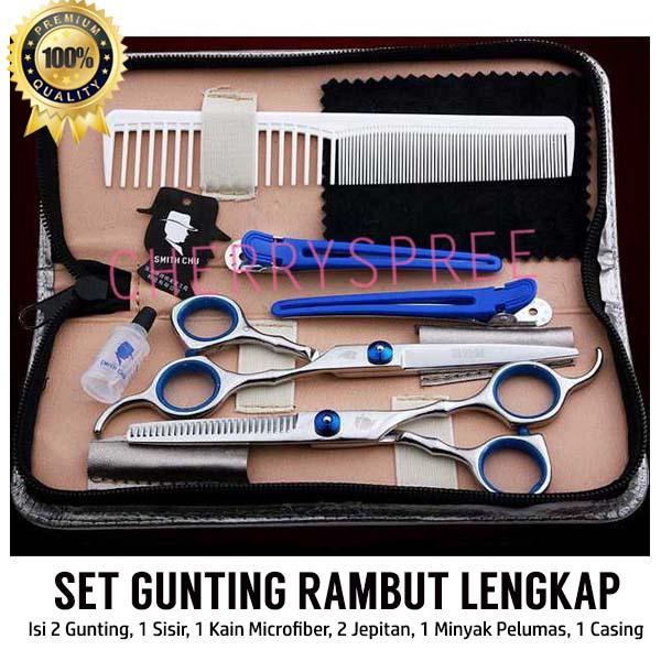 Set Lengkap Alat Gunting Rambut Salon Perlengkapn Dengan Case Penyimpanan  Stainless Steel Tahan Lama Hair Styling ba1239166e