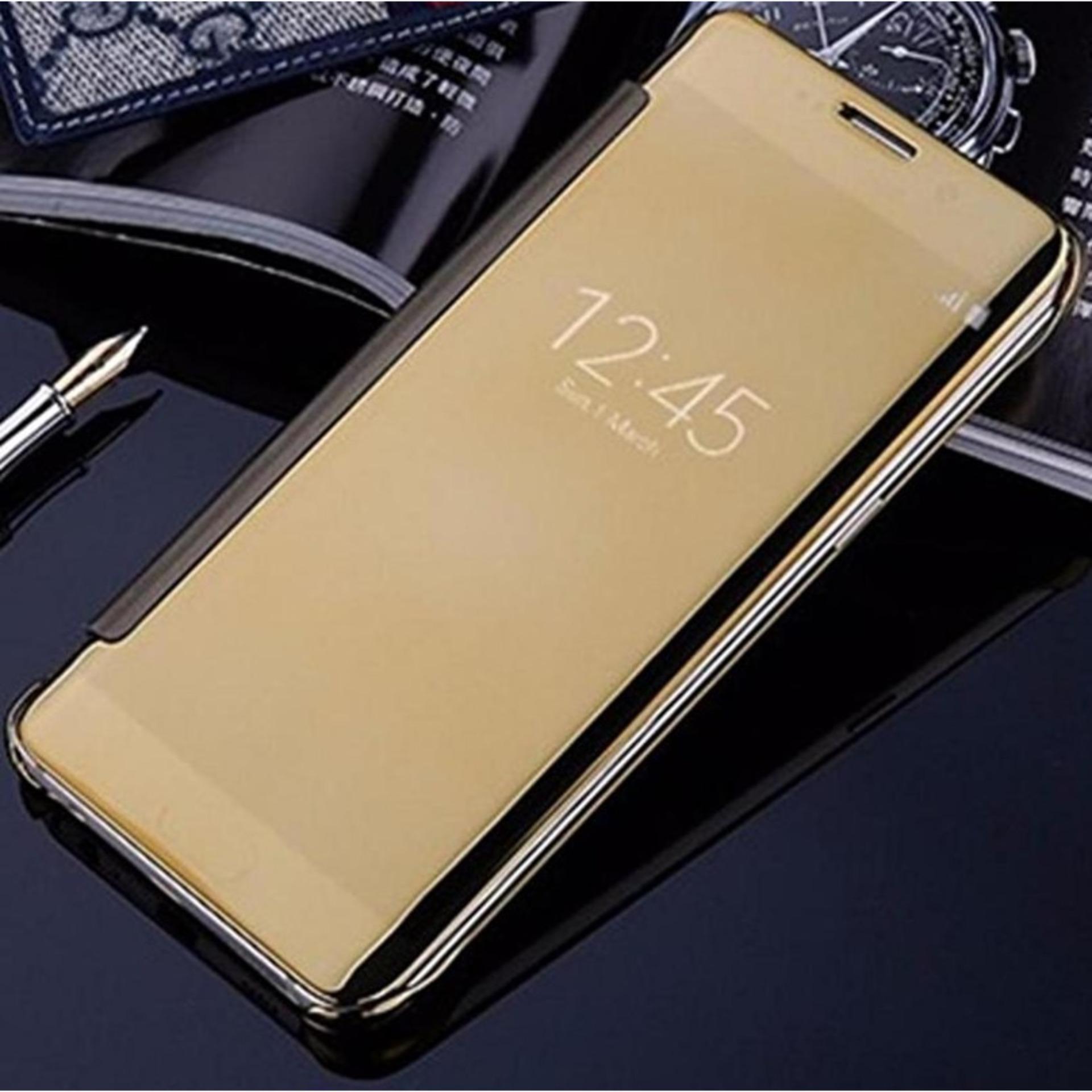 Case For Samsung Galaxy A8 2018 Flipcase Flip Mirror Cover S View Transparan Auto Lock Casing Hp- Gold