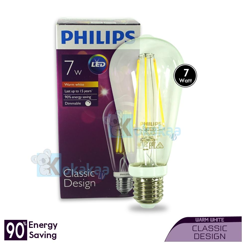 Philips Lampu LED Tinggi 7 Watt ST-64 E27 Dimmable Classic Design Hemat Energi Lampu Bohlam Cahaya Kuning
