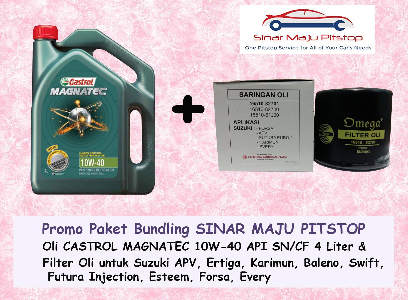 Paket Bundling Oli Mobil CASTROL MAGNATEC 10W-40 API SN 4 LITER & Filter Oli SUZUKI FUTURA INJECTION ORIGINAL