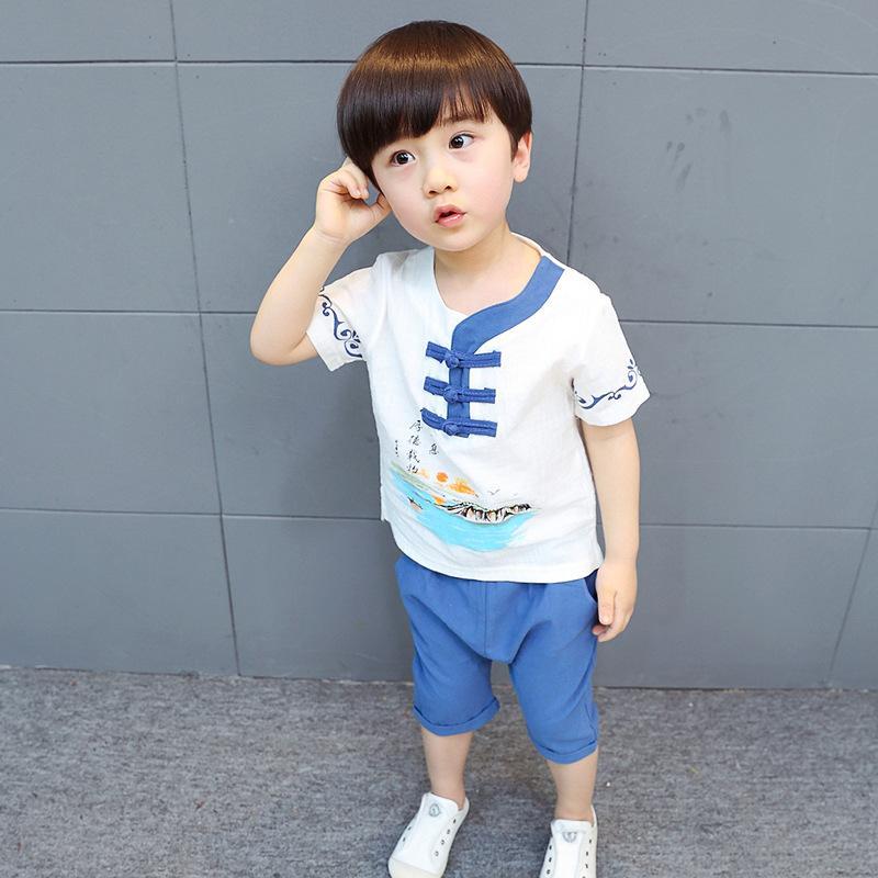 Pakaian Adat Tiongkok Anak Laki-laki Baru Musim Panas Sayang