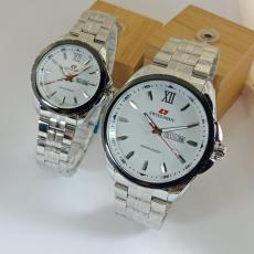 Jam Tangan Couple Tali Rantai Stainless Stell Tanggal Aktif Best Seller