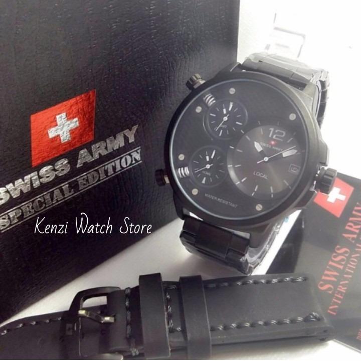 Swiss Army Jam Tangan Fashion Ekslusif Toko Grosir Quartz Triple Time Fitur Tanggal Aktif_ Full Set Free (BOX EKSLUSIVE SWISS ARMY & TALI KULIT ORY)   Toko Grosir  Jam Tangan Pria Hitam