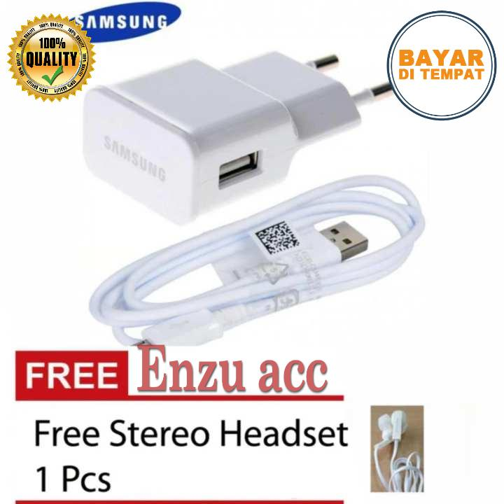 Charger Samsung Original 100% Authentic Travel Charger 10.W Kabel Micro USB Free Handsfree Samsung GH59 Jack 3,5mm - Putih