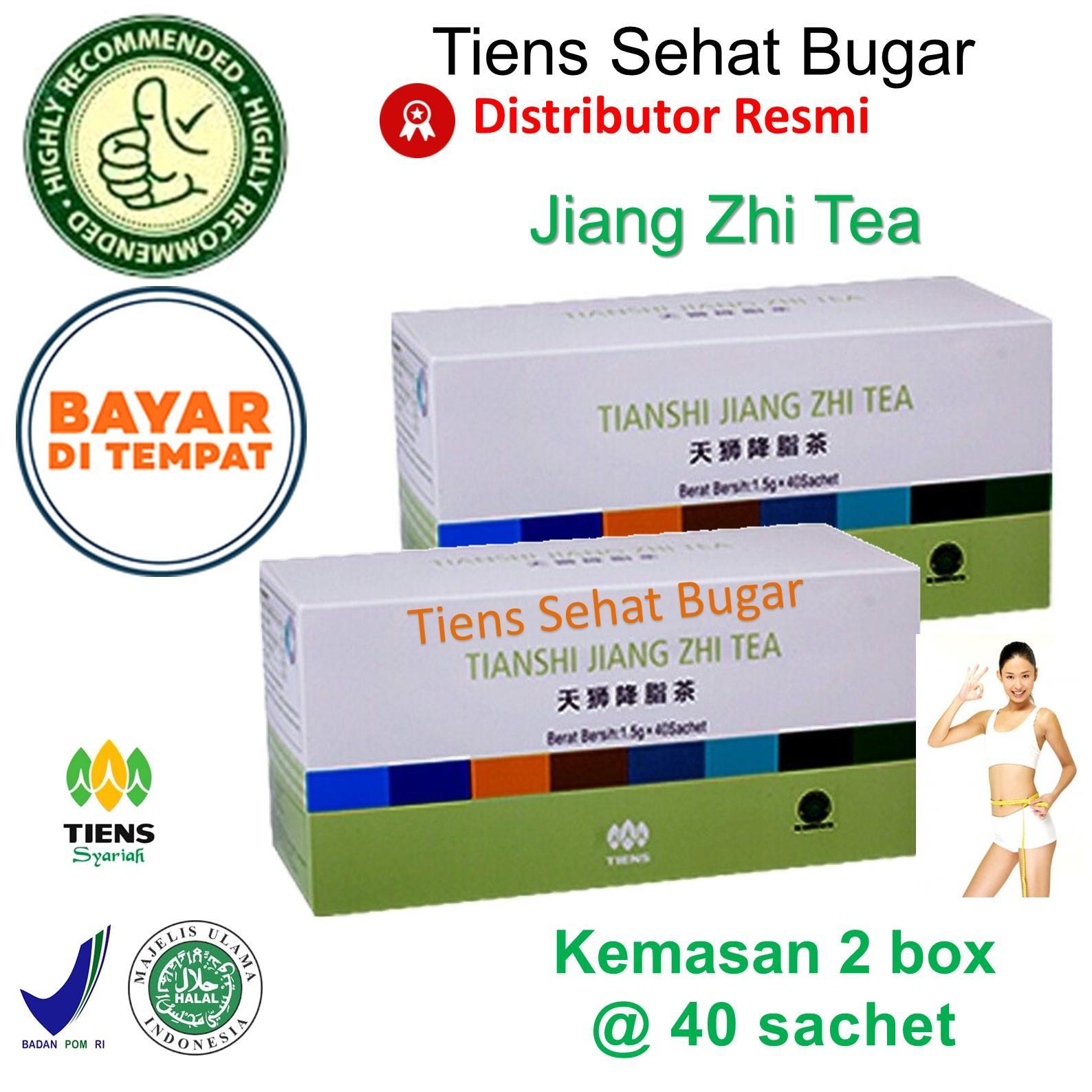 Tiens Teh Pelangsing Jiang Zhi Tea – Paket 2 BOX [@ 40 Sachet] By Tiens Sehat Bugar  Teh pembakar lemak  Teh Herbal  Teh Hijau  Teh penghancur lemak perut  Pemblokir lemak  Pengecil Perut  Penurun Berat Badan  Teh Diet  Herbal Alami