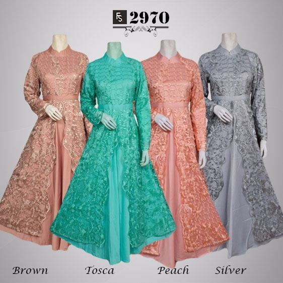 Toko Kirana Surabaya Gamis maxi dress baju gaun pesta busana muslim Brokat Vania 972