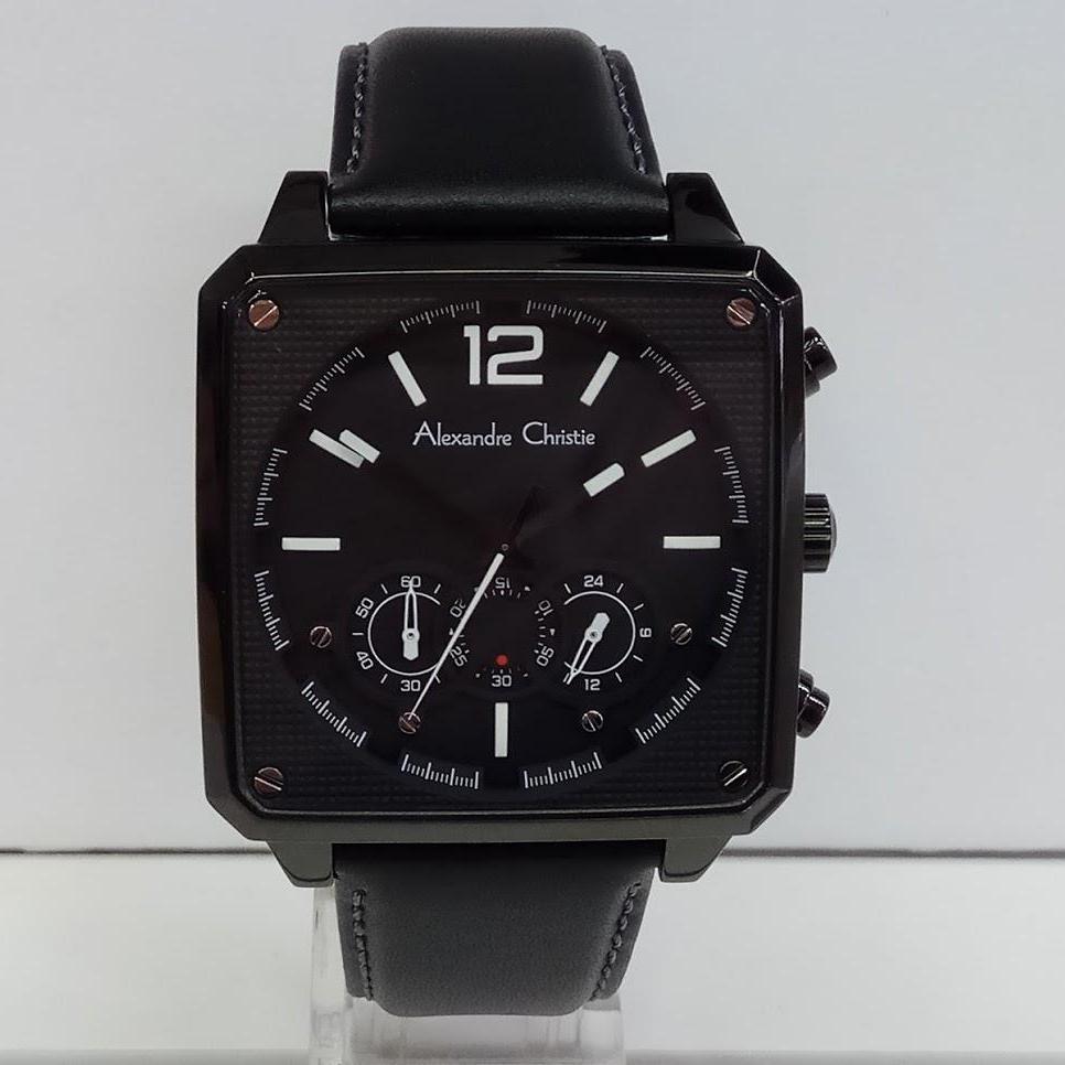 Alexandre Christie Ac6439mc Jam Tangan Pria Strap Leather Coklat Rosegold Ac944 Ac6484mc Chronograph Black