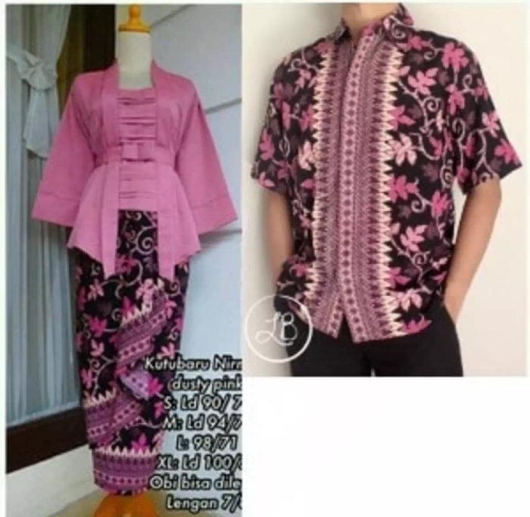 Setelan pakaian kebaya couple batik/ Kebaya modern/kebaya tradisional/kebaya wanita/kebaya wisuda/kebaya perpisahan sekolah/kebaya kutu baru polos keluaran terbaru