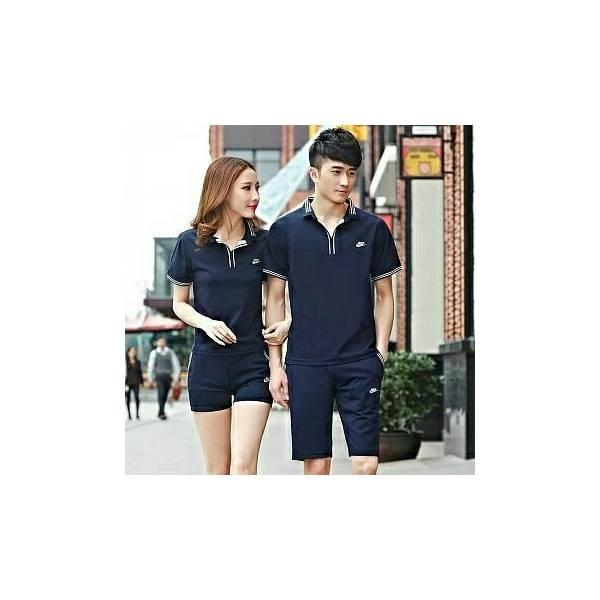 BT13980 (Black-Navy)Couple Sport Nike Set 2In1