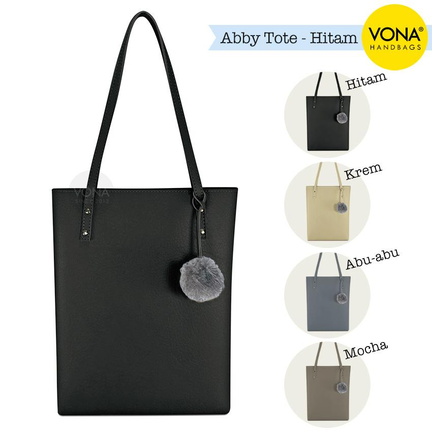 VONA Abby - Tas Bahu Wanita Tote Pompom Bulu Shoulder Bag Pom pom Sekolah Kerja Handbag Gendong Remaja Cewek Tali Zipper Murah Korean Style Fashion Buatan Bali Indonesia Kulit Imitasi Sintetis PU Faux Leather Best Seller New Arrival Baru Terbaru Branded