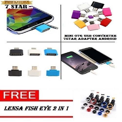 Mini OTG USB Converter 7STAR Adapter Android + Gratis Lensa Fish Eye