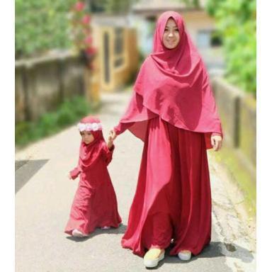 (TERBARU) MK HIJAB CASILA BAJU COUPLE MOM AND KIDS PASANGAN IBU DAN ANAK DRESS MAXI GAMIS LENGAN PANJANG MURAH (Merah)
