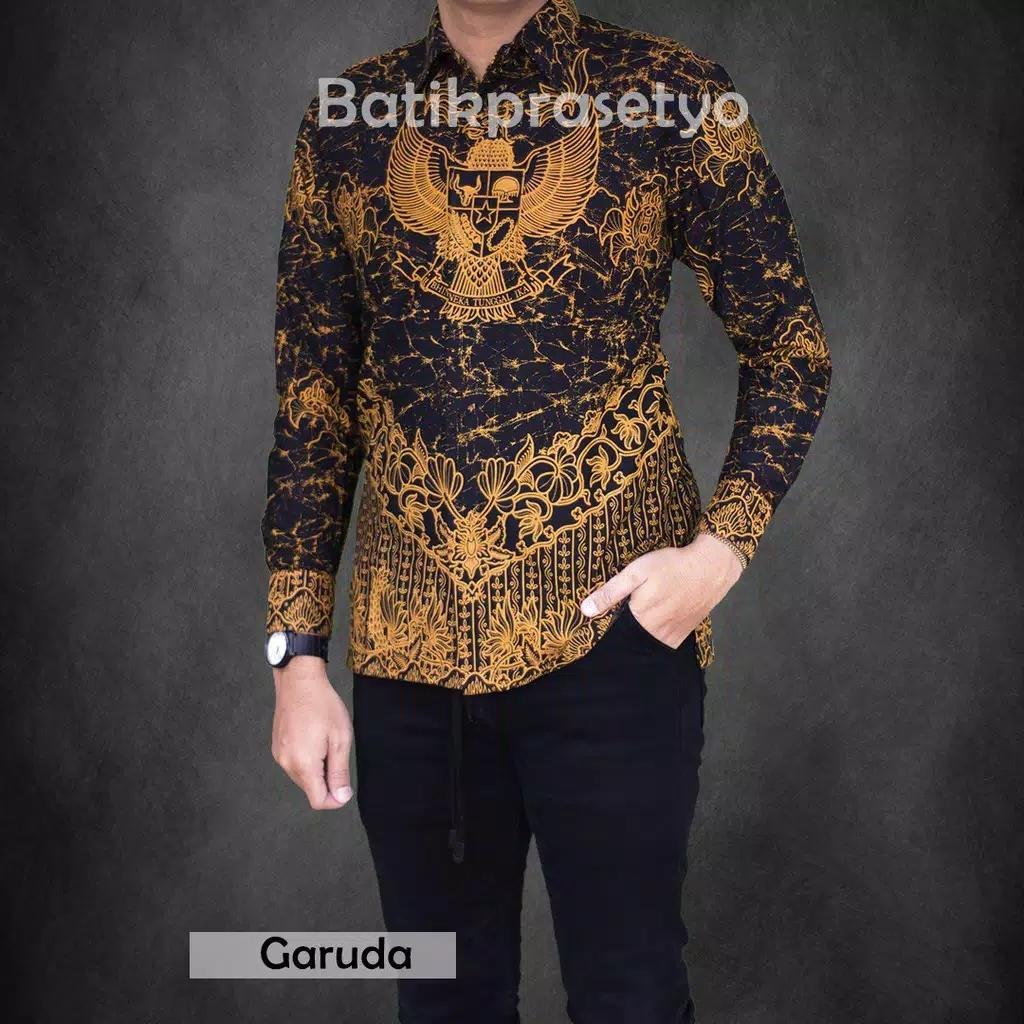 Baru Baju kemeja lengan panjang batik Garuda