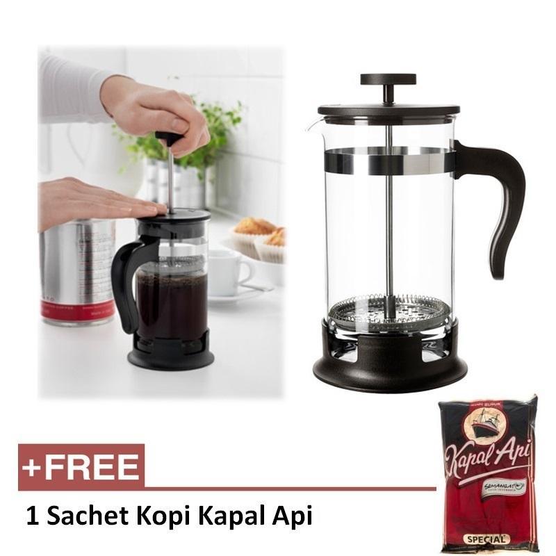 [1+1] IKEA French Press Coffee Press Coffee Tea Maker - Pembuat Kopi Teh - Gratis 1 Bungkus Kopi Bubuk Kapal Api Special