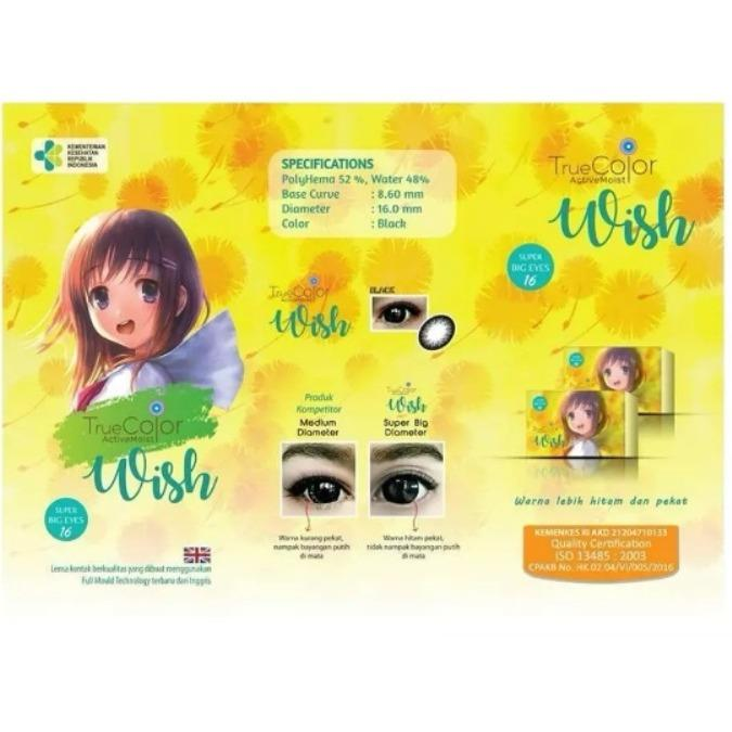 Softlens TRUE COLOUR WISH real BIG DIAMETER 16 mm BLACK / HITAM NORMAL free LENSCASE