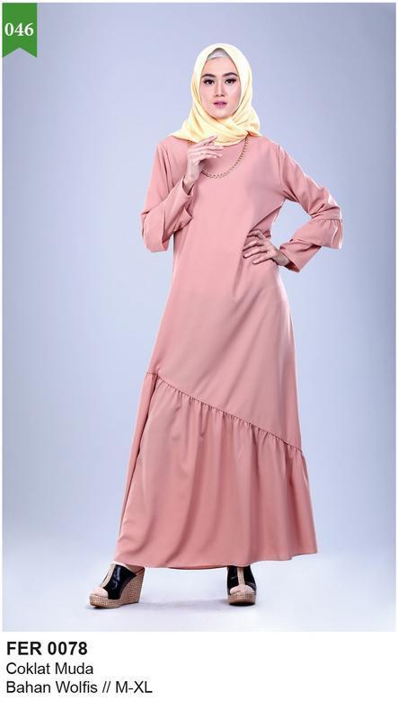 Garsel Fashion Baju Gamis Wanita - bahan wolfis - Murah & berkualitas (Coklat Muda) FER 0078