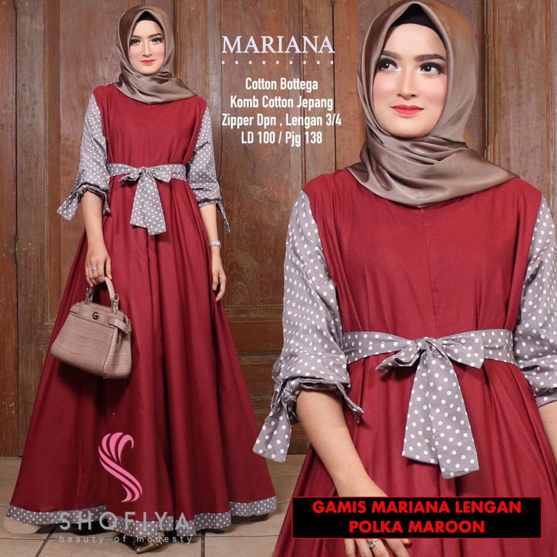 Gamis Mariana Maxi Tangan Panjang Wanita Dewasa -  Gamis Polos Baloteli Busana Muslim Wanita Gamis Murah Baju Lebaran Baju Pesta