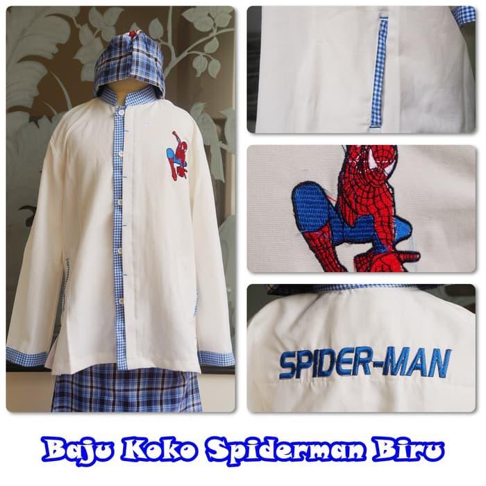 Baju Koko Cars Spiderman Biru M / baju koko / baju koko anak / baju muslim / baju koko karakter / baju koko murah / baju koko keren / baju koko lucu / baju koko berkualitas
