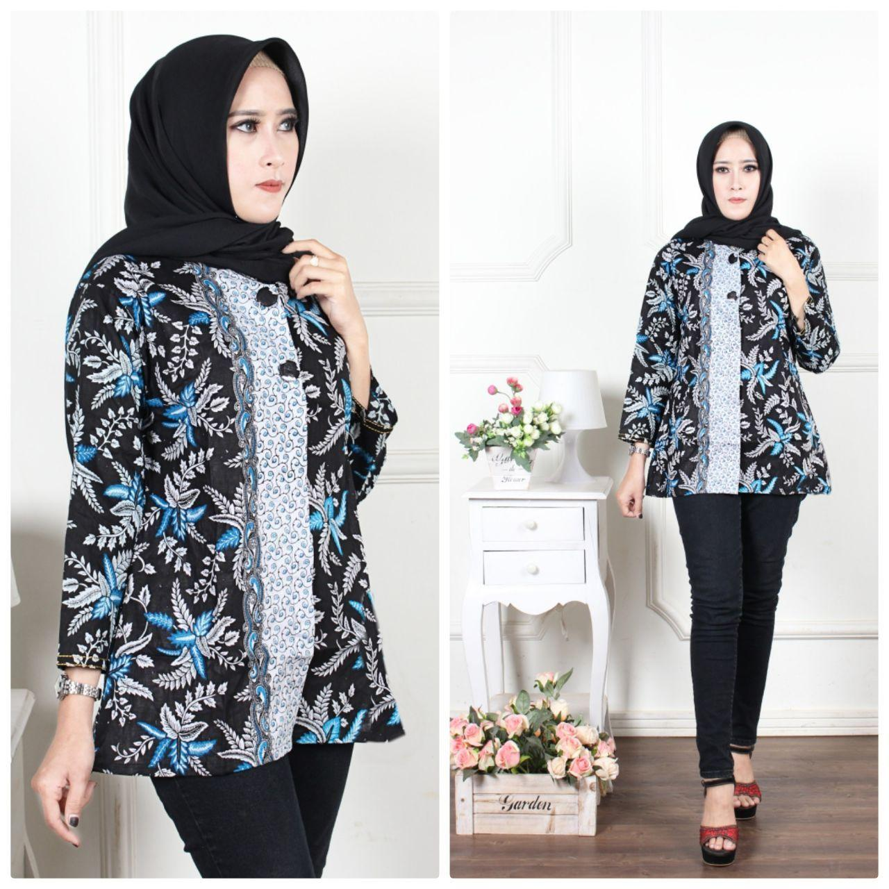 Blus Batik Wanita Atasan Batik Murah Seragam Batik Guru Modern