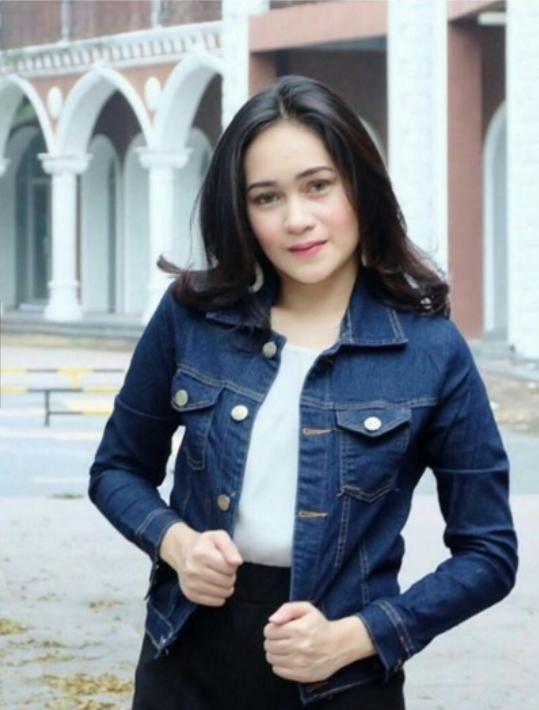 [BEST SELLER] UC Jaket Denim Polos Exclusive / Jacket Jeans Wanita Washed Premium / Bomber Parka (Visky) VC - BIRU TUA (Dark Blue)