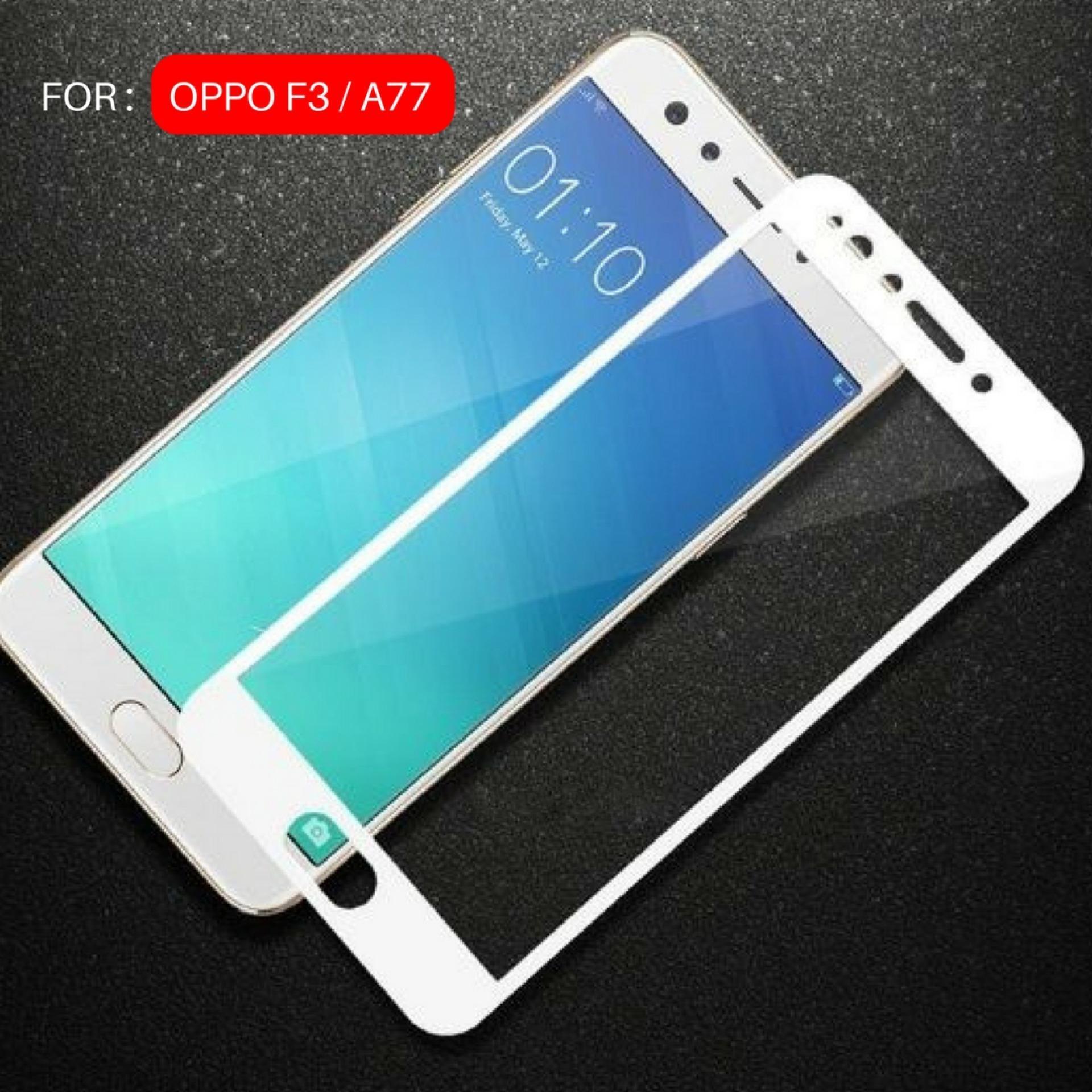 Kenzoe Tempered Glass Warna Full Corning Screen Protector For OPPO F3 (A77) - White