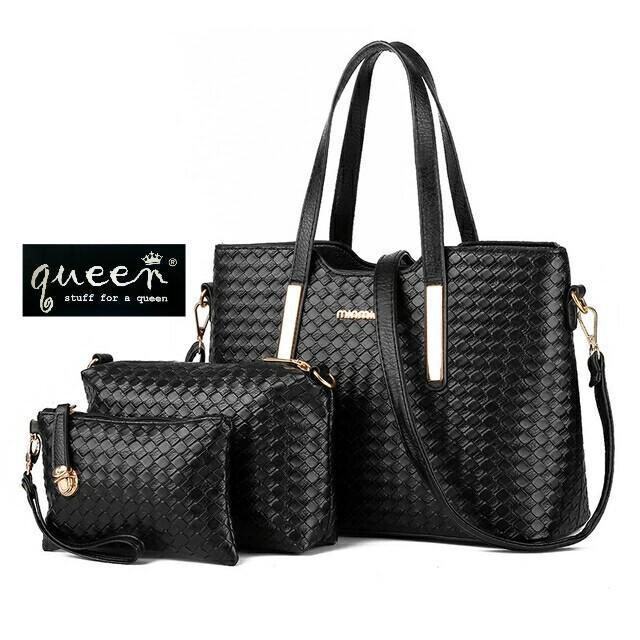 Tas Handbag wanita / Tas Totebag Motif Tikar anyaman paket 3 in 1
