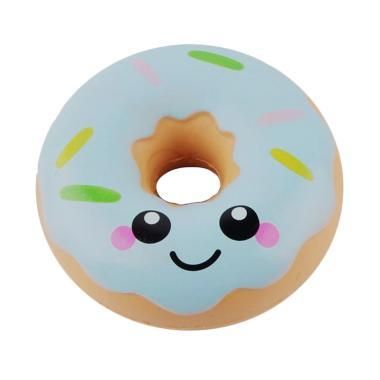 Squishy kawaii Smiling Face Donuts Charm Bread Kids Toys With Package - biru
