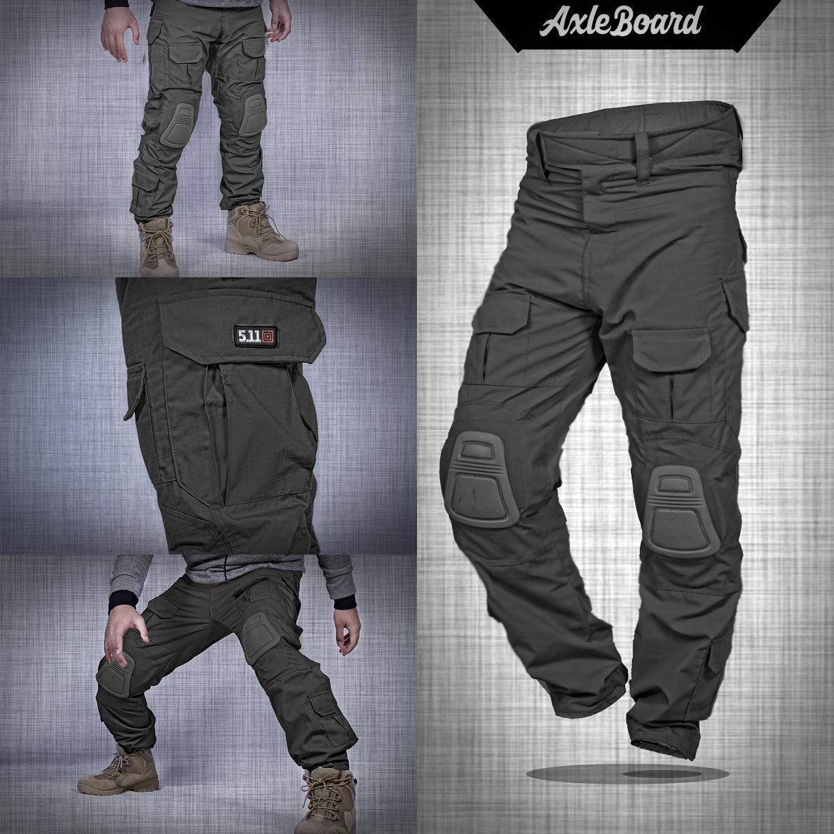 Celana panjang pria pdl army tactical 511 + knepad premium warna hitam axlestore