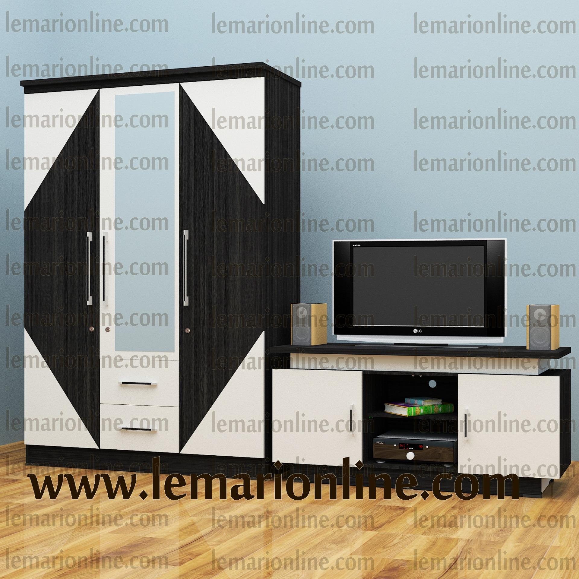 Lemari Pakaian 3 Pintu Cermin & Meja TV (Paket New Product)