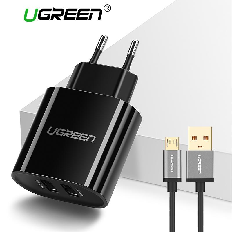 UGREEN Dual Ports Wall Charger for Xiaomi Redmi Samsung hp Handphone + Free 1meter Micro USB Fast Charging Cable Black