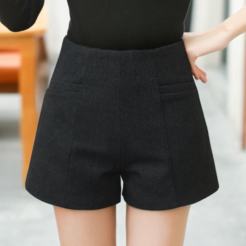 Celana Pendek Wol Pinggang Tinggi Celana Cargo Wanita Musim Gugur atau Dingin (Arak Anggur)