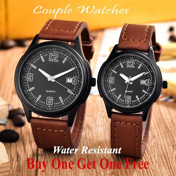 Jam Tangan Couple - Pria dan Wanita - AB-8078GL-BB- Leather Band 407b067959