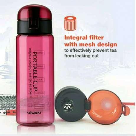 Vivan termos 1275 650ml Botol Minum Flil Cover Design Plastic Cup-MERAH