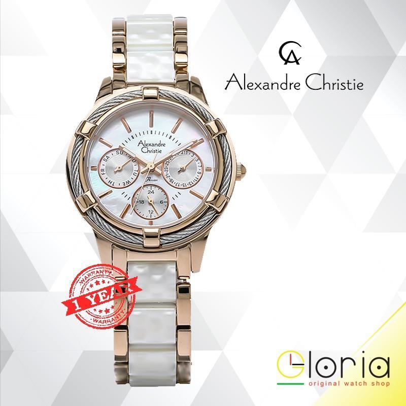 PROMO Alexandre Christie AC 2654 Chronograph Jam Tangan Wanita Tali Stainless Steel Ceramic