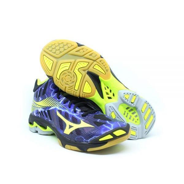 Sepatu voli Mizuno V1GA180500WAVE LIGHTNING Z4 MID - BLACK SAFETY YELLOW PANSY