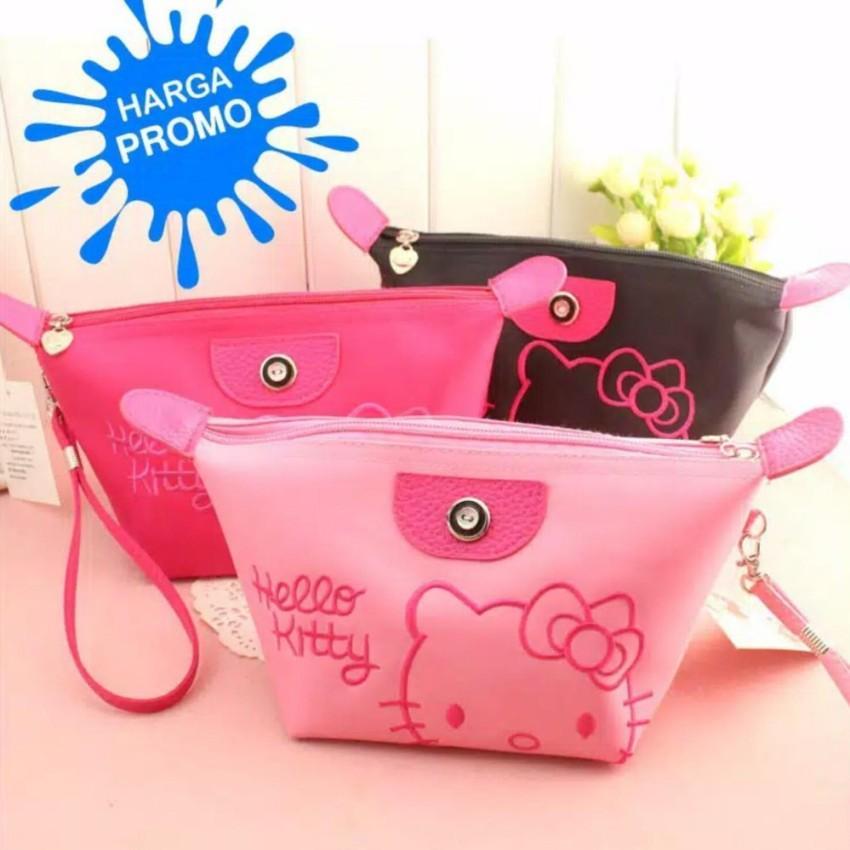 Tas / Dompet / Pouch Kosmetik Kualitas Super Motif Hello Kitty Bordir - 1Pcs