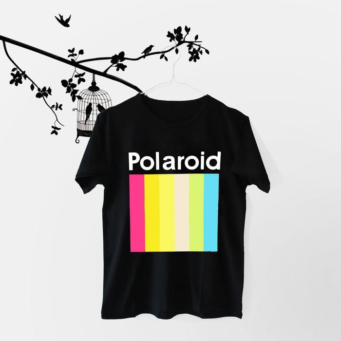 OBRAL Tumblr Tee u002F T-Shirt u002F Kaos Wanita Lengan Pendek Polaroid Warna Hitam