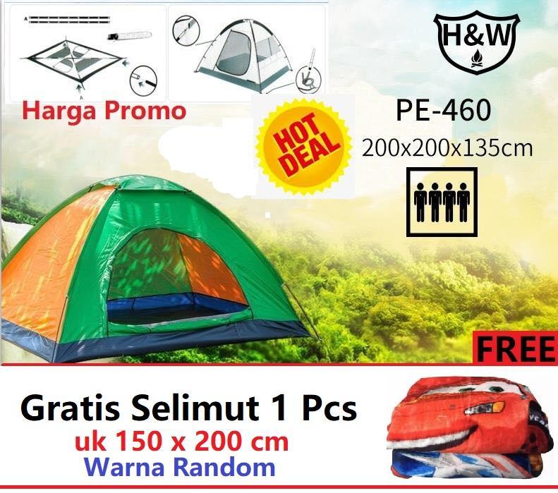 Promo Tenda Camping Tenda 4-5 orang Dome Tenda Kemping 200cm x 200cm - H&W