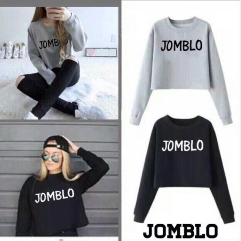 BelovedFashion - Sweater Crop JOMBLO Lengan Panjang