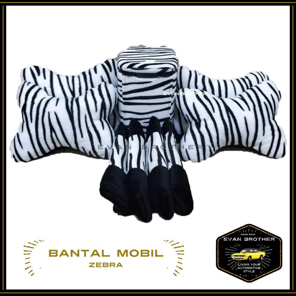 Paket Bantal Mobil Zebra Dan Tempat Sampah Motif Zebra / PAket Hemat Tempat Sampah Dan Bantal Mobil