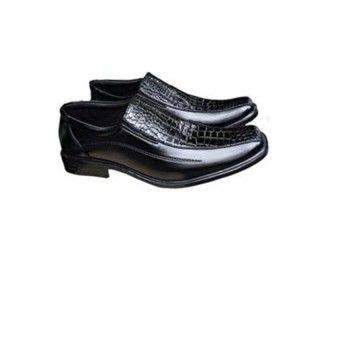Sepatu Kulit Sintetis Kombinasi Kulit Buaya Selempang - Black