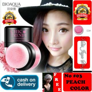 HOKI COD - 03 PEACH COLOR - Bioaqua Original Perona Pipi CHIC TRENDY Soft Rose Blush On Powder Original + Gratis Shower Cap Putih Premium thumbnail