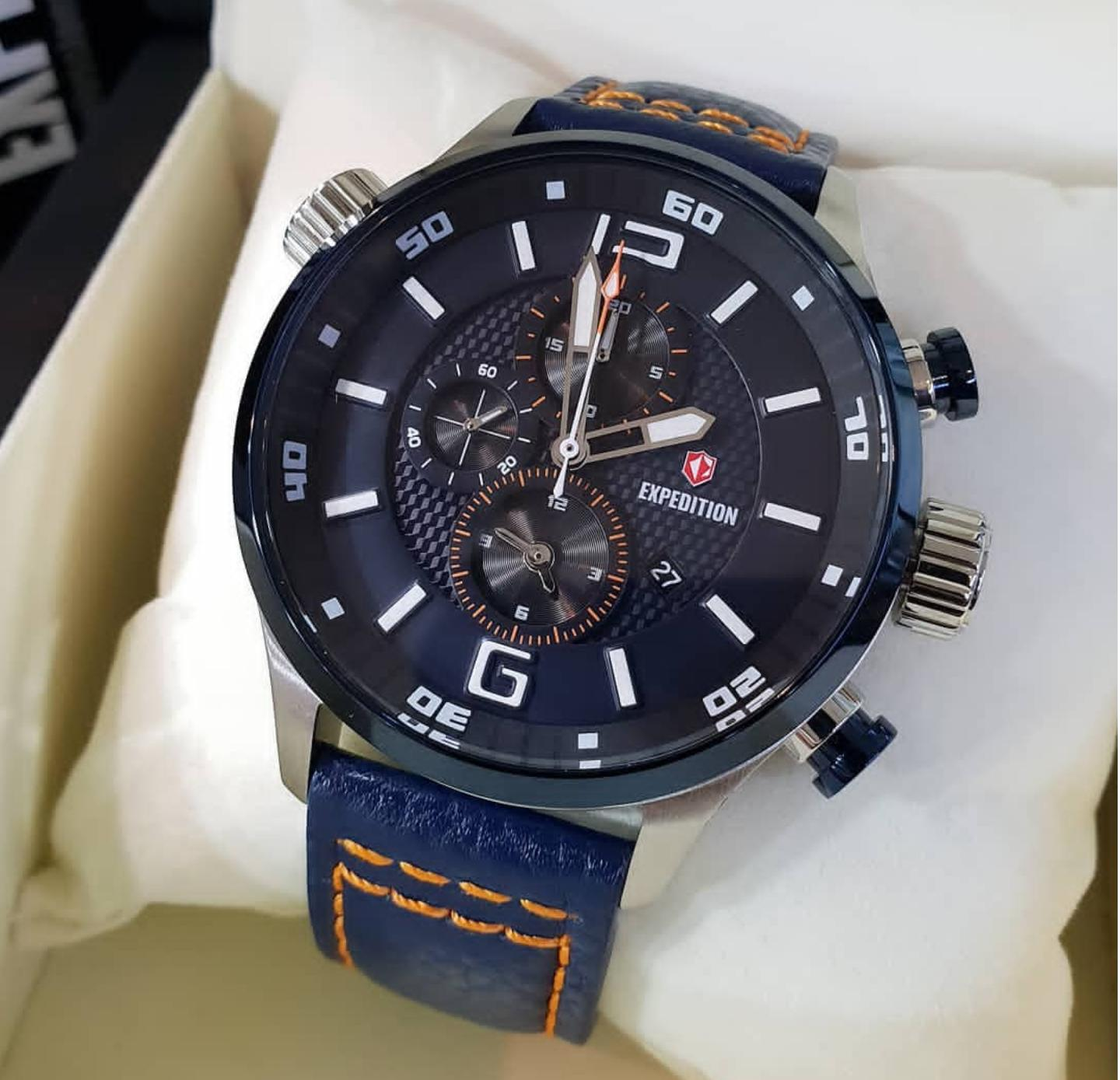 Jam Tangan Expedition Terbaru Pria E6715 Original Limited Edition Leather Strap Ex893991 Biru