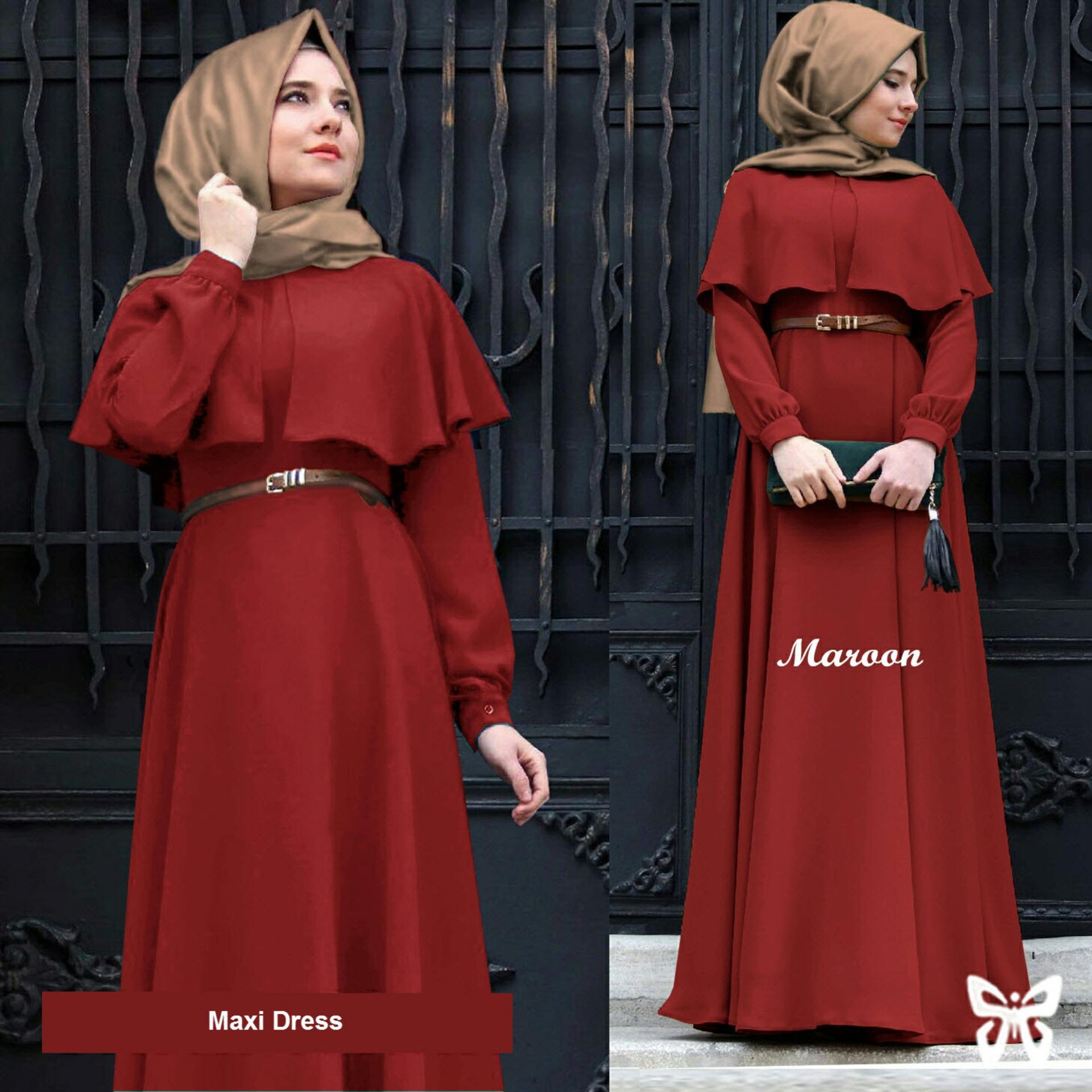 Sera Outfit Maxi Dress Lengan Panjang Set 3 in 1 MSR036 / Gamis Syari / Gaun Pesta Muslimah / Baju Muslim Wanita Syar'i / Hijab / Srclara