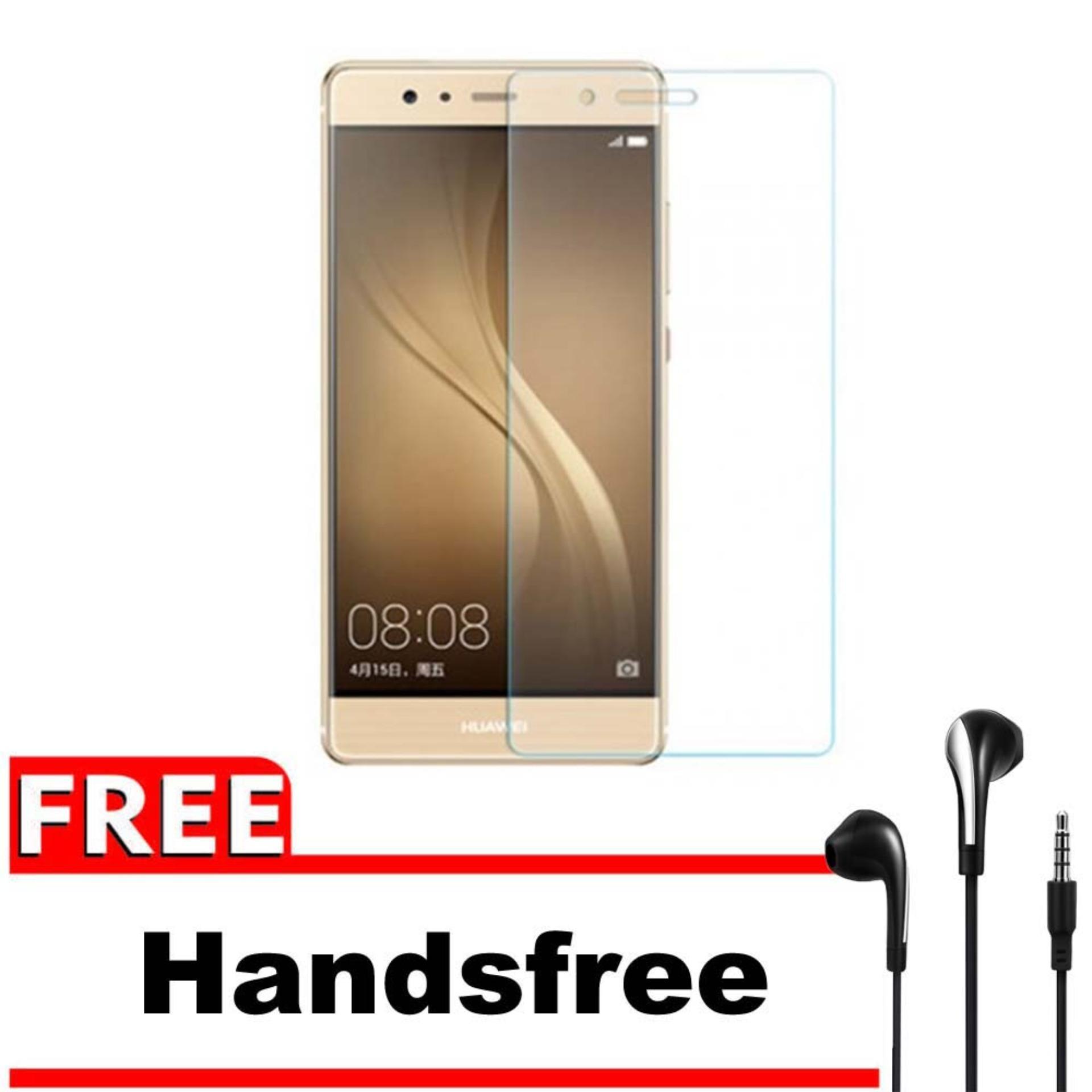 Vn Huawei Ascend Mate 8 Tempered Glass 9H Screen Protector 0.32mm + Gratis Free Handsfree Earphone Headset Universal - Bening Transparan