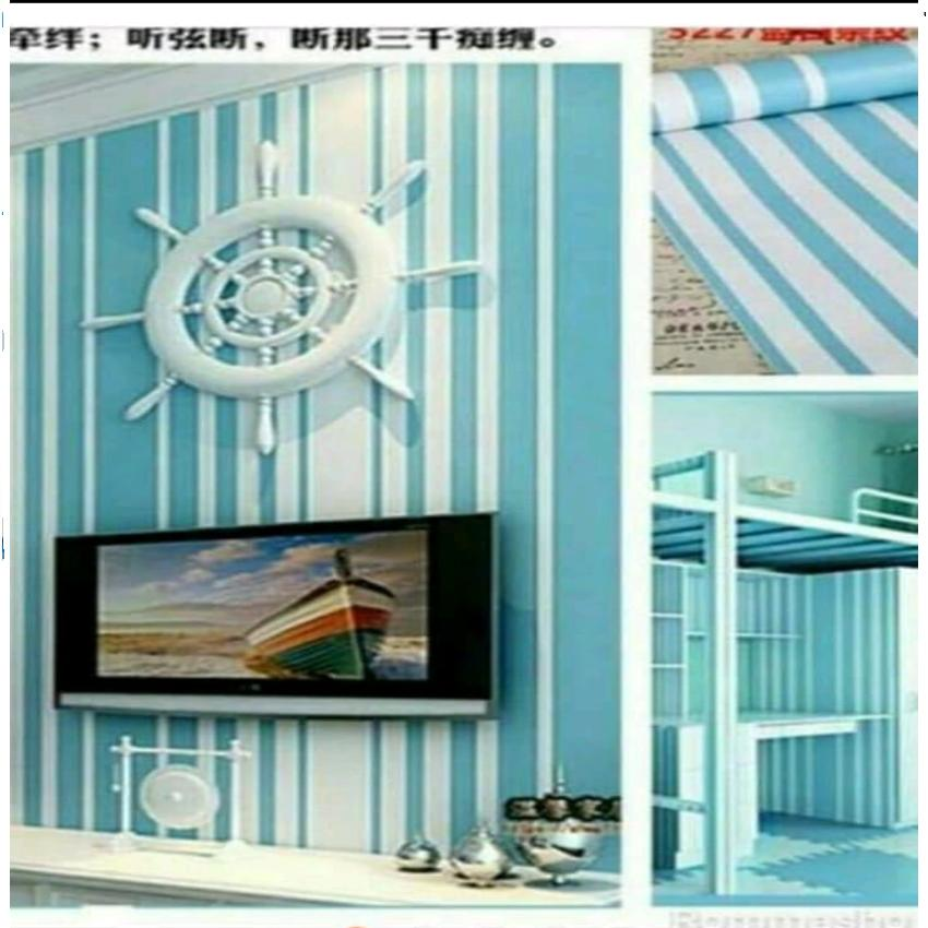 Wallpaper Sticker Dinding Biru Garis Putih Size10mx45cm